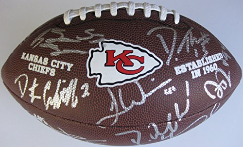 (2017 Kansas City Chiefs, Team, Signed, Autographed, NFL Logo Football, a COA with the Proof Photos of the Chiefs Players Signing the Football Will Be Included.)