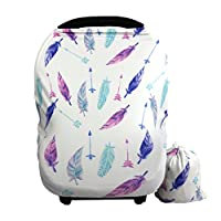 Baby Car Seat Cover canopy nursing and breastfeeding cover (feather&arrows)