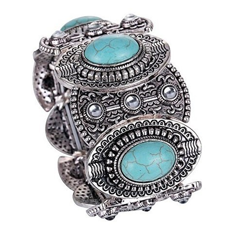 Tzou Vintage Tibetan Silver Ethnic Gothic Oval Turquoise Inlay Wide Bangle Women