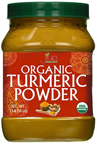Organic Turmeric Powder - 1LB Jar - 100% Raw w/Curcumin From India - by Jiva Organics (Best Loose Powder In India)