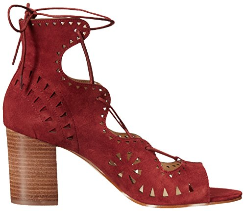 Red Gweniah Suede Nine West Sandal Dark Dress Women's qa0RwE4