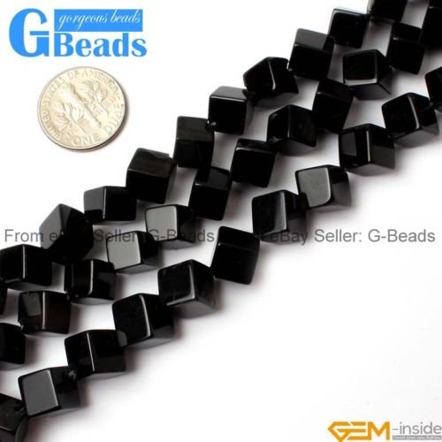 Black Cube Onyx (Square Cube Black Agate Onyx Gemstone Loose Beads For Jewelery Making Strand 15