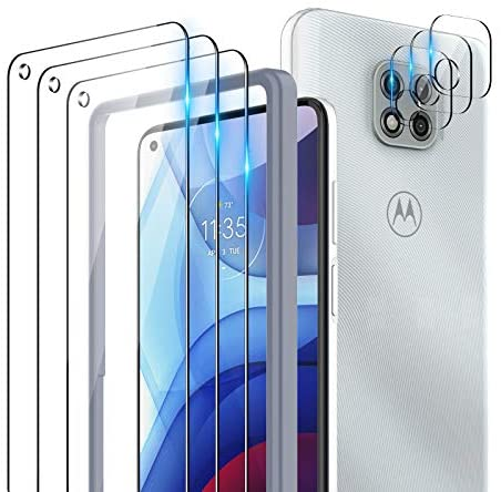 TOCOL 6 Pack Compatible with Moto G Power 2021 (Not for Moto G Power 2020) - 3 Pack Tempered Glass Screen Protector and three Pack Camera Lens Protector with Easy Installation Frame HD Clear Case Friendly