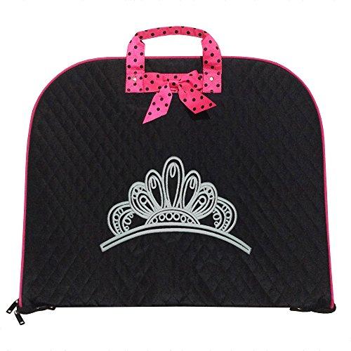 Crown Royal Bag Costume (TOP QUALITY Quilted Custom Princess Crown Design Royal Garment Bag Luggage Travel or Costume Bag Personalized (Black/Pink))