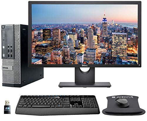 """Dell Optiplex 7010 PC Bundle with 24"""" FHD Dell Monitor, Wireless Keyboard and Mouse, Gel Mousepad, WiFi, Intel i5, 8GB Memory, 240GB SSD Storage, Windows 10 (Renewed)"""
