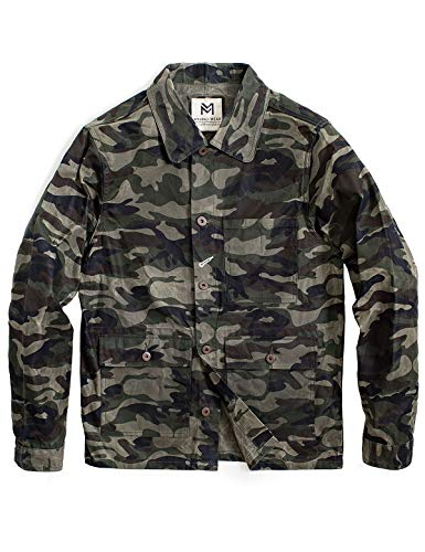 MADEN Men's Camo Waxed Canvas Cotton Military Jacket Work Trucker Jacket