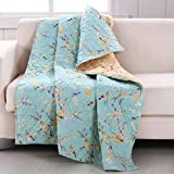 yellow throw quilt - Finely Stitched Quilt Throw Lap Blanket Brushed Microfiber Chic Cottage Style Floral Birds Tree Branches Design Blue Yellow Luxury Reversible Bedding - Includes Bed Sheet Straps
