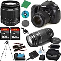 Canon EOS 70D Camera with 18-55mm IS STM Lens + 75-300mm III Zoom + 2pcs 16GB Memory + Camera Case + Memory Card Reader + Professional Tripod + 6pc Starter Set - International Version