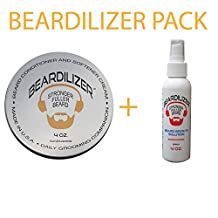 Beardilizer ® Value Pack: Beard Growth Conditioner and Softener Cream 4 oz + Beard Growth Spray 4 Oz