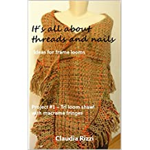 It´s all about threads and nails: ideas for frame looms: Project #1: Tri loom shawl with macramé fringes