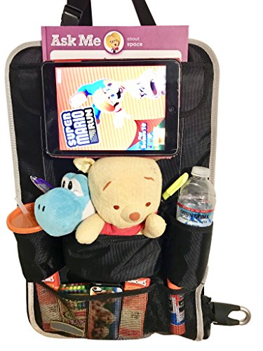 Car Back Seat Organizer & Car Seat Protector with 9-compartments for kids Travel Accessories Including Ipad/Tablet Holder. Echo Friendly with Reinforce Material for extra storage by FlowBargains