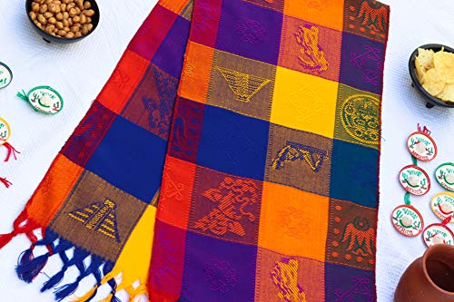 (Mexican Table Runner – Bohemian Table Runner – Boho Rainbow Aztec Runners – Serape Colourful Striped Cotton Runner for Mexican Fiesta Decorations and for Wedding Décor Yellow Navy Blue Purple)