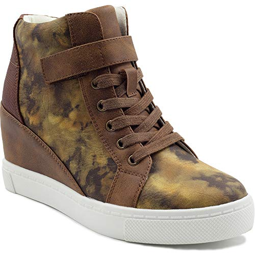 Athlefit Women's Lace Up Wedge Sneakers High Top Fashion Sneakers Ankle Booties