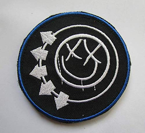 (Blink 182 Smiley Logo Military Patch Fabric Embroidered Badges Patch Tactical Stickers for Clothes with Hook &)