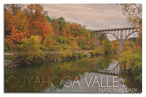 Lantern Press Cuyahoga Valley National Park, Ohio - Fall Foliage and Bridge (10x15 Wood Wall Sign, Wall Decor Ready to Hang)