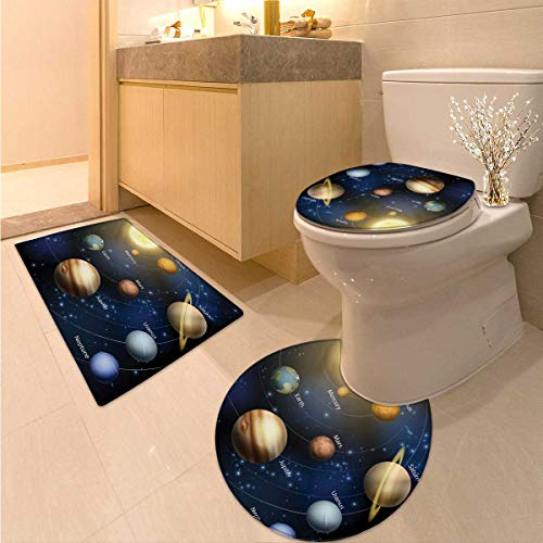 Anhuthree Educational Toilet Carpet Floor mat Set Realistic Illustration of Solar System Sun Planets Orbit Astronomy Outer Space Non Slip Bath Shower Rug Multicolor by Anhuthree