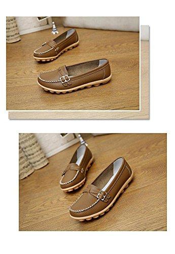 Wicky LS Damen Work Comfort Leder Mokassins Loafer Wohnungen Erbsen Schuhe Style1 Khaki