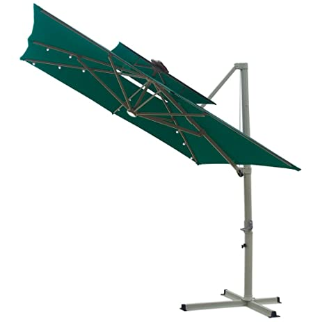 Southern Patio 8.5 Foot Square Offset Double Top Solar Umbrella, Green