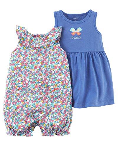 Carter's Girls 3-piece Flutter Sleeve Striped Dress & Romper Set (3 - Carters Girls Sunsuit Infant