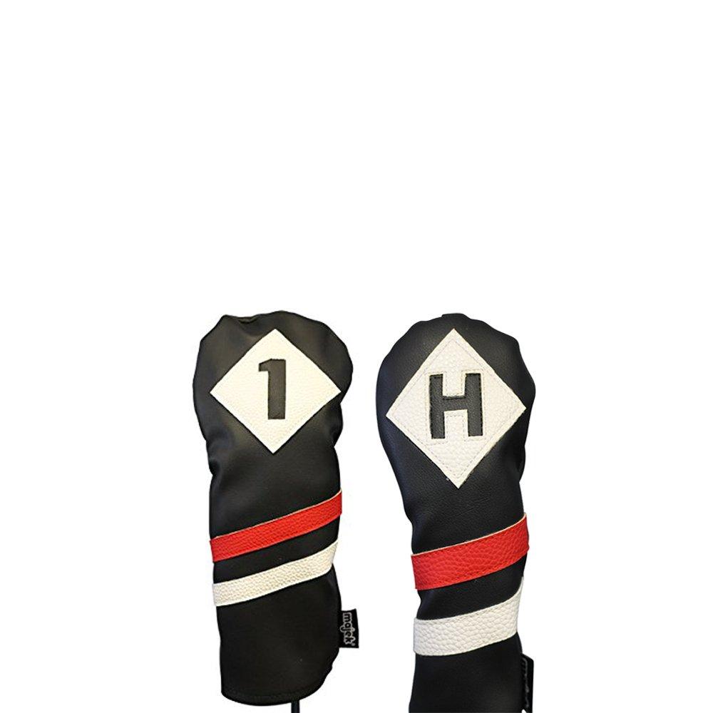 Majekレトロゴルフヘッドカバー3ブラックレッドとホワイトヴィンテージレザースタイル1 Hドライバ、ハイブリッドヘッドカバークラシックLook   B077GCVS6L