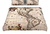 KESS InHouse Bruce Stanfield ''Vintage Map Of The America's''Featherweight Queen Duvet Cover, 88 x 88''