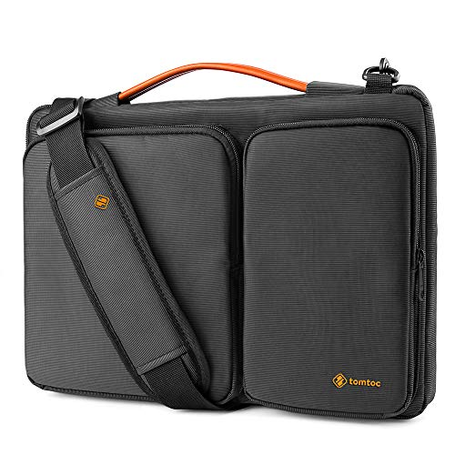 (tomtoc Original 15.6 Inch Laptop Shoulder Bag with CornerArmor Patent & Accessory Pocket, 360° Protective Sleeve Compatible with 15-15.6 Dell HP Acer Lenovo Chromebook Notebook)