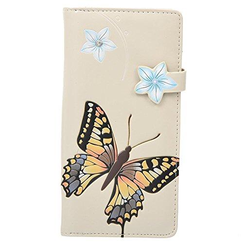 Shag Wear Women's Large Zipper Wallet Monarch Butterfly Cream]()