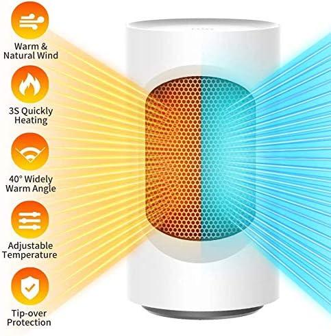 Calefactor Cerámico Calentador portátil Space, Calentador Ventilador portátil con termostato Ajustable y protección contra sobrecalentamiento Calentador eléctrico Personal para Oficina en casa