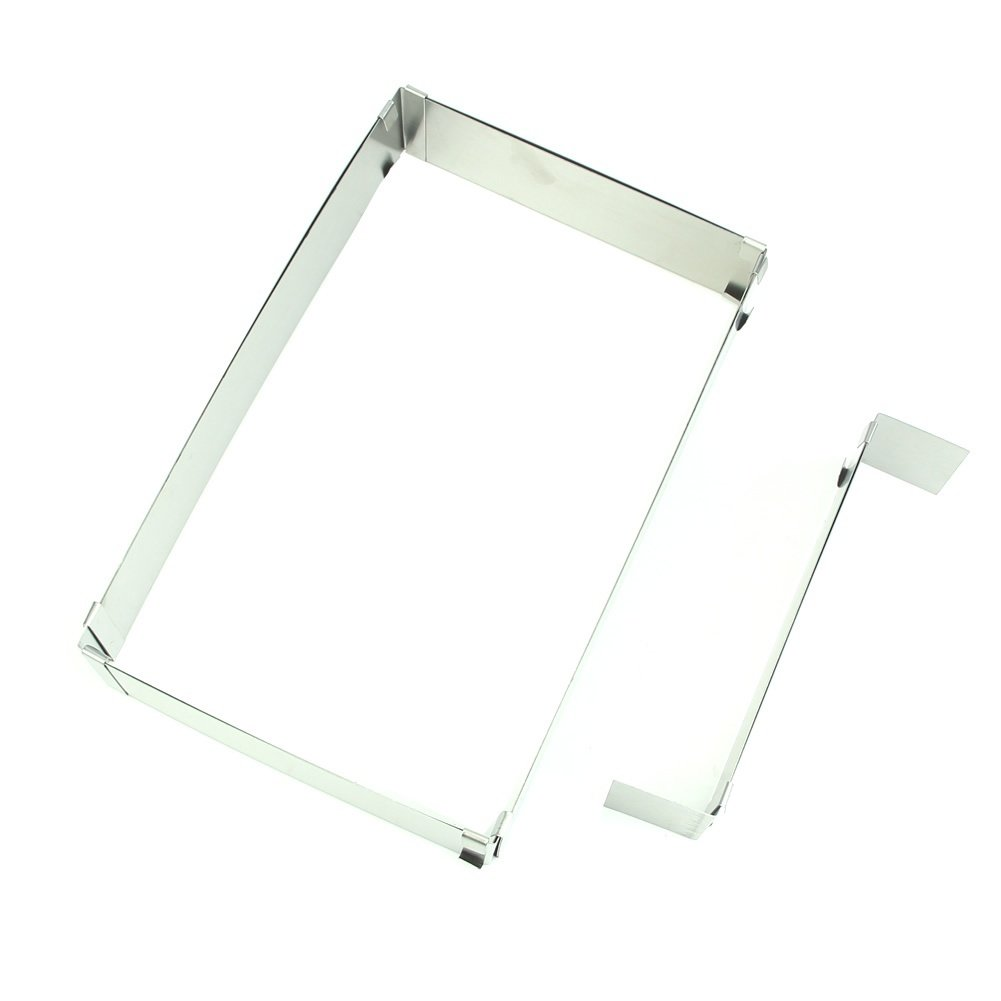 SODIAL(R) 10'' - 20'' Adjustable Rectangle Scalable Steel Mousse Ring Cake Baking Mold (Color: Silver)