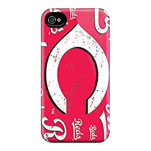 Protective Cell-phone Hard Cover For Iphone 4/4s With Allow Personal Design Stylish Cincinnati Reds Pattern AnnaDubois