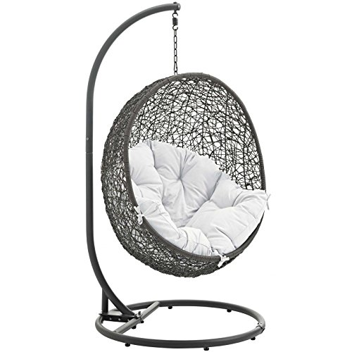Miraculous Modway Eei 2273 Gry Whi Hide Wicker Outdoor Patio Swing Egg Chair Set With Stand Gray White Frankydiablos Diy Chair Ideas Frankydiabloscom
