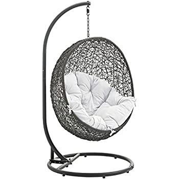 Modway Hide Outdoor Patio Swing Chair With Stand, Gray White