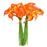 YILIYAJIA Calla Lily Bridal Wedding Party Decor Bouquet PVC Latex Real Touch Flower Artificial Flowers in Vase,Pack of 20 (Sunset)