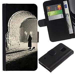 Sombre photo profonde - la tarjeta de Crédito Slots PU Funda de cuero Monedero caso cubierta de piel Para Samsung Galaxy S5 V SM-G900