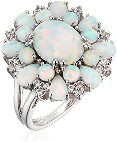 Sterling Silver Created Opal Oval and Pear Shape with Created White Sapphire Cluster Ring