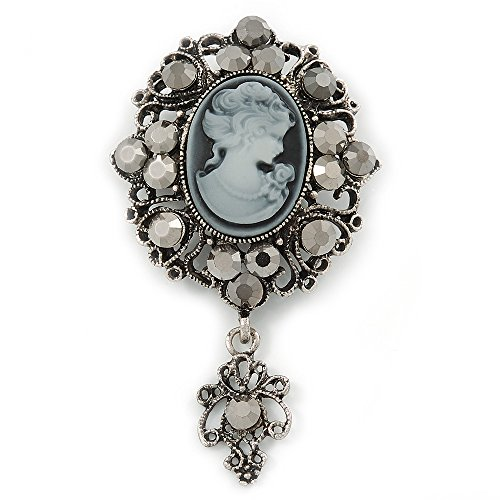 Avalaya Vintage Inspired Hematite Crystal Cameo with Charm Brooch in Antique Silver Tone - 65mm L ()