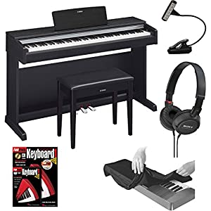 Yamaha YDP142B Arius Series Traditional Console Digital Piano with Bench in Black Walnut with Music Book Light, 88-Key Dust Cover Black, Headphones and FastTrack Keyboard Method Starter Pack