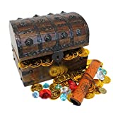 "Nautical Cove Wooden Pirates Treasure Chest Box with a Free Pirate Treasure Map and Gold Coins/Gems (Large 8""x6""x6"")"