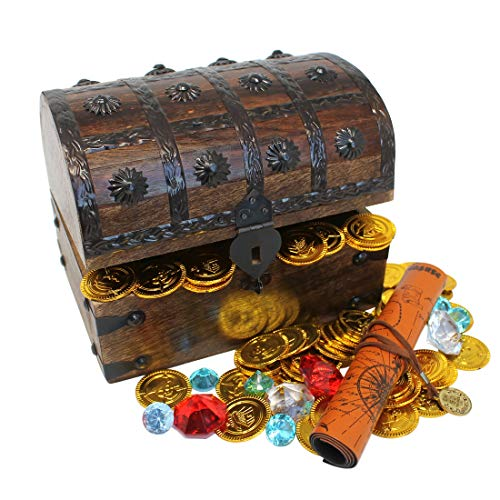Nautical Cove Wooden Pirates Treasure Chest Box with a Free Pirate Treasure Map and Gold Coins/Gems (Large - Multi Gold Gems Colored