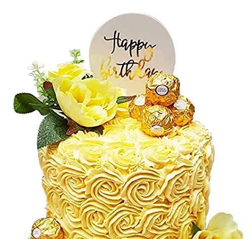 Adorno para tarta de cumpleaños de acrílico dorado para ...