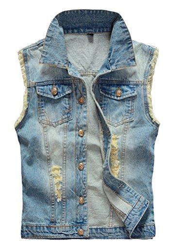 (Lavnis Men's Sleeveless Denim Vest Casual Slim Fit Button Down Jeans Vests Jacket Blue M)