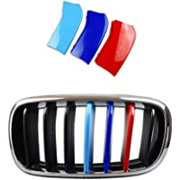 Longzhimei Fit for 2017 ALL NEW BMW 5 series G30 G31 G38 530i 540i 520d 530d M-Colored Front Grille Insert Trim Strips Grill Cover 3Pcs 9 Grilles