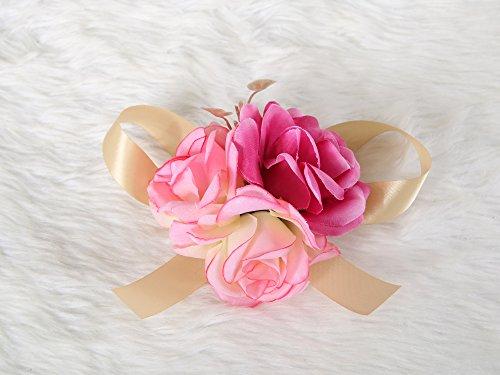 Wrist flower corsage Pretty Wedding Bridal Bridesmaids (Fuscia pink) (Diy Shadow Box Ideas)
