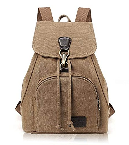 TIBES Small College Canvas Backpack for Women Coffee