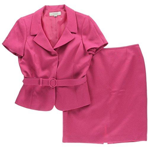 Tahari ASL Womens Plus Shoulder Pads 2PC Skirt Suit Pink 18