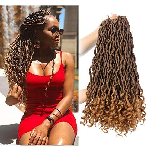 Goddess Faux Locs Crochet Hair Wavy with Curly Ends 20 Inch 6Packs/Lot Crochet Braids Faux Locs Dreadlocks Brown Blonde Synthetic Braiding Twist Hair Extensions (T1B/27#)