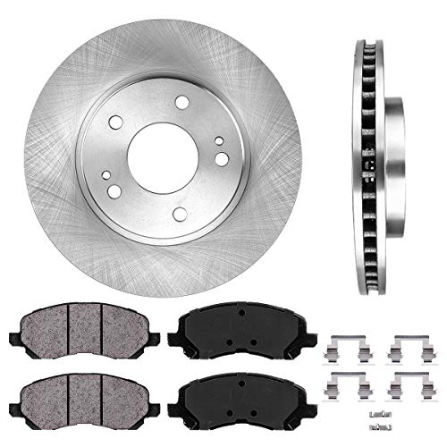 FRONT 276 mm Premium OE 5 Lug [2] Brake Disc Rotors + [4] Ceramic Brake Pads + Clips