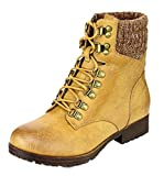 Refresh Women's Wynne-07 Knit Cuff Lace Up Combat Winter Boot (10 B(M) US