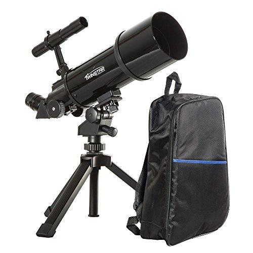 Black TwinStar AstroMark 80mm 16-40x Power Portable Refractor Telescope - Backpack Bundle by Twin Star