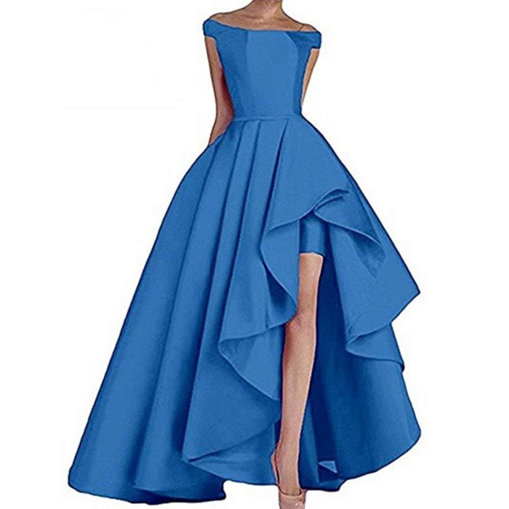 bluee Liaoye Women's Off Shoulder Satin Long Prom Dress High Low Evening Dress Formal Gowns